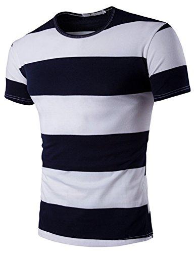 YCHENG Herren Freizeit Basic T-Shirt mit Rundhalsausschnitt Oberteile Slim fit Blau 1