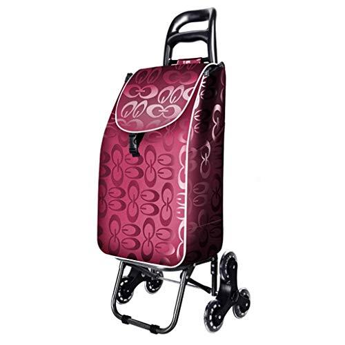MISJIA Sackkarre Einkaufswagen Haushalt Steigen Sie Die Treppe Zusammenklappbare Crystal Wheel Trolley Hebel Auto Gepäckwagen Enthält Stofftasche Last 25 Kg Sackkarre,Pink