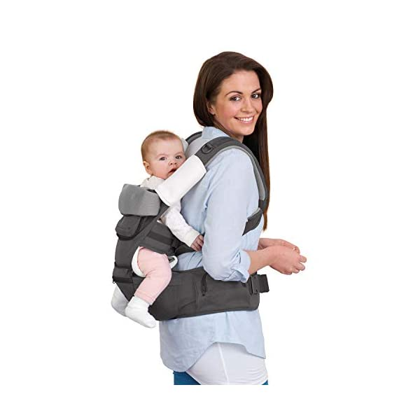 Clevamama Ergonomic Baby Carrier - Adjustable Baby Carrier from Newborn to Toddler (3.5 - 15 kg),Grey Clevamama Acknowledged by international hip dysplasia institute as hip healthy for your baby when used as directed Versatile for all occasions: front facing in, backpack style, side sling, frontal out and hip seat Provides complete support to baby and extra lumbar support to parent 5
