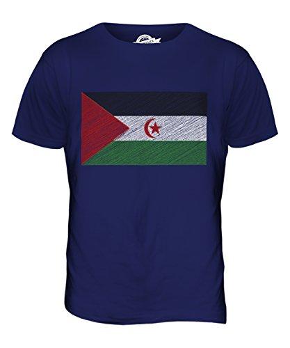 CandyMix Sahara Occidentale Bandiera Scarabocchio T-Shirt da Uomo Maglietta Blu Navy
