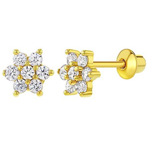 In Season Jewelry Kleinkind Baby Mädchen - Schraubverschluss Ohrringe Blume 18k Vergoldet Klar Kristall
