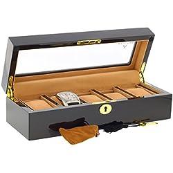 Ebenholzbox für Armbanduhren Sammler-Box mit Luxus-Futter für 5Uhren mit Glasdeckel von aevitas