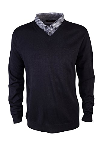 pierre-cardin-mens-new-season-mock-v-neck-knitted-jumper-with-shirt-collar-insert-large-black