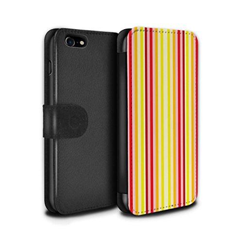 Stuff4 Coque/Etui/Housse Cuir PU Case/Cover pour Apple iPhone 8 / Art Moderne/Splat Design / Mode Jaune Collection Chaud Plage Rayures