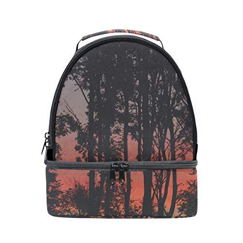 Herbst Oktober Wild Sunset Landschaft Tragbare Schule Schulter Tote Lunchpaket Handtasche Kinder Doppel Lunchbox Wiederverwendbare Isolierte Kühler Für Frauen Student Travel Outdoor -