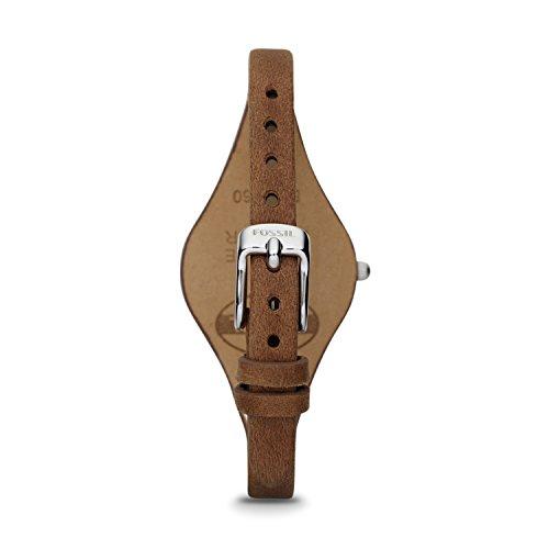 Fossil Georgia Damenuhr silber / Analoge Vintage Armbanduhr im Boyfriend-Stil – großes Ziffernblatt & schmales, braunes Lederband - 5