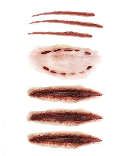 Deley 6pcs halloween terrore zombie cicatrici ferita sanguinante impermeabile tatuaggi temporanei speciali trucco adesivo modello 3