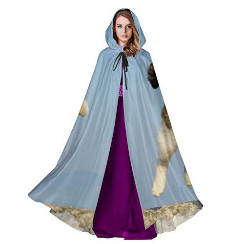 QuqUshop Nette Katze im springenden Mantel Hood Lightweight Hooded Cloak Women 59inch für Weihnachten Halloween Cosplay Kostüme -