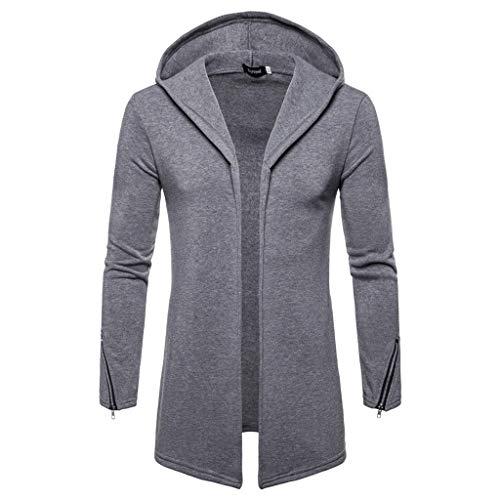 Jacke Herren,SANFASHION Coat Männer Mode mit Kapuze Solide Trenchcoat Mäntel Strickjacke Langarm Outwear Bluse