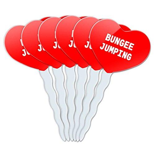 Liebe Bungee (Rot Herz Heart Liebe Love Set von 6Cupcake Picks Topper Dekoration I LOVE Herz Sport Hobby ba-bu Bungee Jumping)