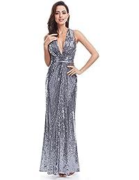 Ever-Pretty Vestidos de Noche para Mujer Vestido de Cuello V Profundo Vestido de Lentejuelas