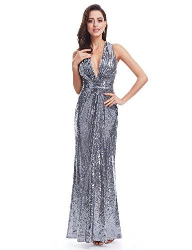 Ever Pretty Lang Pailletten Elegant Partykleid Cocktailkleid V-Halsausschnitt Abendkleid Silber 48