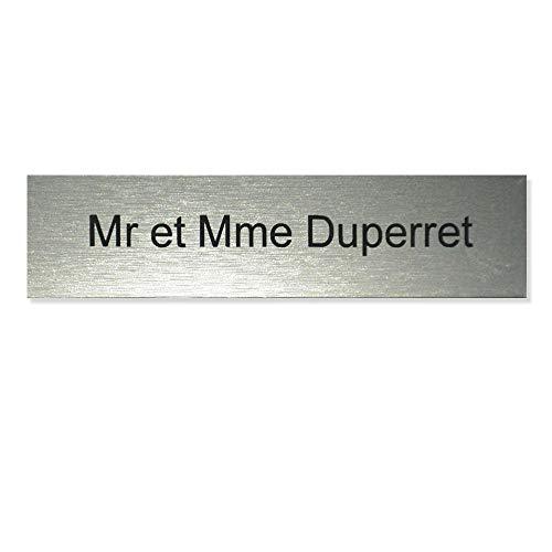 Plaque boite aux lettres Decayeux (100x25mm) gris argent lettres noires - 1 ligne