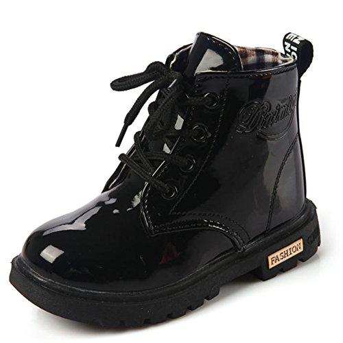 Stiefel Schwarze Kinder (Mädchen Jungen Martin Stiefel Wasserdicht Kurz Schlupfstiefel Winter Kinder Schuhe Schnür Ankle Boots Baby Gummistiefel, Schwarz)