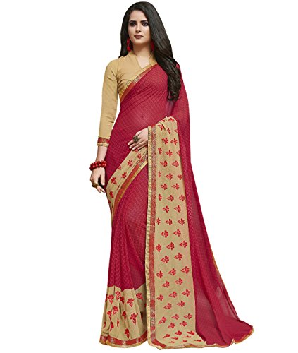 Indian Ethnic Faux Georgette Pink Printed Saree (Skirt Abstract Print)