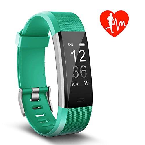 Kungber Pulsera de Actividad, Monitor de Frecuencia Cardíaca & IP67 a Prueba de Agua Fitness Tracker Reloj Inteligente de Teléfonos con Android iOS, Regalos para Niños Hombre Mujere (Verde)