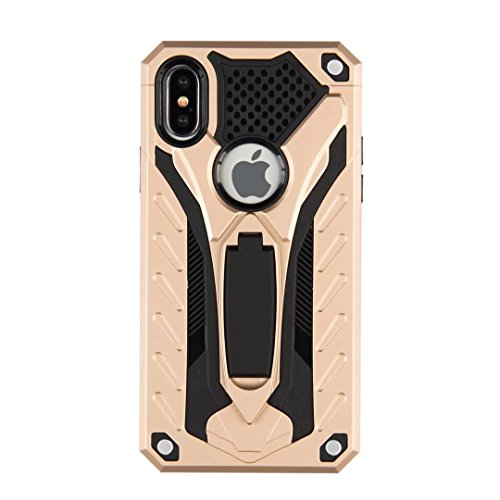 iPhone X Cover, Awesome Foldable Movie Stand Special Patent Design 2 In 1 Armor Slim Custodia, TAITOU New Cool Ultralight Thin Warrior Cover For Apple iPhone X Black BGold