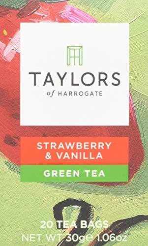 Taylors of Harrogate Strawberry and Vanilla Green Tea 20 Tea Bags 27 g - Pack of 3, 60 Tea Bags in Total