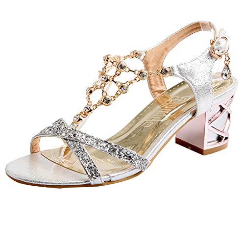 UH Damen T Spange Chunky Heels Sandalen Ankle Strap Pumps mit Blockabsatz Strass Bequeme Sommer Schuhe Ankle Strap T-strap-pumps