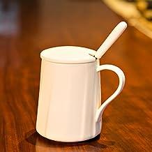 YX.LLA Tasse à café créatif tasses en céramique Mug élégant Personnaliser les tasses d'eau bol des couples tasse la tasse avec couvercle blanc semi-brillant, Scoop