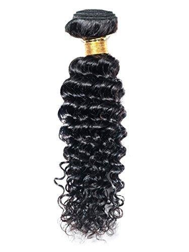 40,6 cm 1 Bundle cheveux brésiliens, Deep Wave 60 g, 5 Trames pour tête complète cheveux humains, non tissé noir naturel couleur
