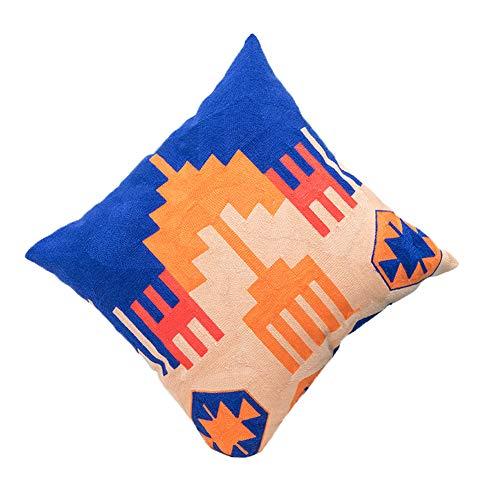 blue page Blau Seite Exotic Bohemian Bestickt Werfen Kissen Cover-Abstrakt Geometrische Design Home Decor Kissenbezug, Boho Kissen Sham für Couch Sofa/Bett, 45,7x 45,7cm Stil 4 (Kissen-abdeckungen Throw Mexikanische)