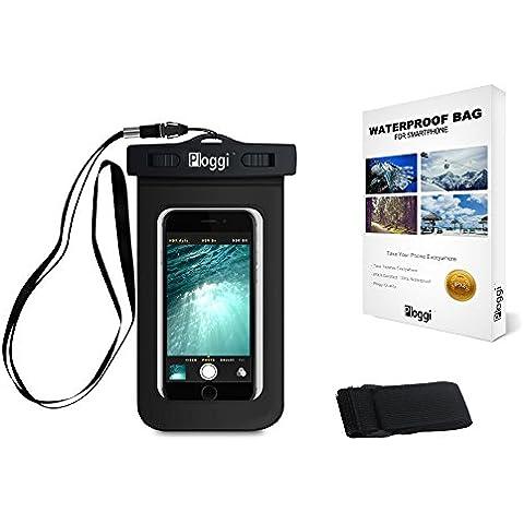 Ploggi ® Funda Impermeable para Smartphone - Compatible con iPhone 4 / 5S / 5 Plus / 6 - Samsung Galaxy S4 / S5 / S6 - LG - HTC One - Sony Xperia 3 - Nokia - Huawei - Acer - Google Nexus 5/6 - Wiko Rainbow - Utilicelos con los teléfonos de hasta 6 pulgadas - Certificados IPX8 - Garantía de por vida - 100% Satisfacción