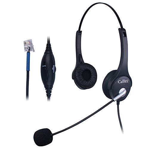 Callez Auriculares Teléfono Fijo RJ9 Binaural, Micrófono