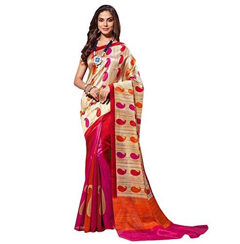 Glory Sarees Women\'s Bhagalpuri Art Silk Cotton Saree(vnart27_beige_red_orange and pink)