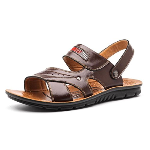 Men's High Quality Dual Use Leather Sandals Dark Brown