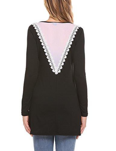 Parabler Damen Langarmshirt SpitzenShirt Tunika Stretch Basic Kleider T-Shirt Umstandsmode mit Floral Spitze Schwarz