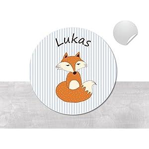 Namensaufkleber • Fuchs • 24/120/240 Stück (N13) kunterbunte Aufkleber vom Papierbuedchen