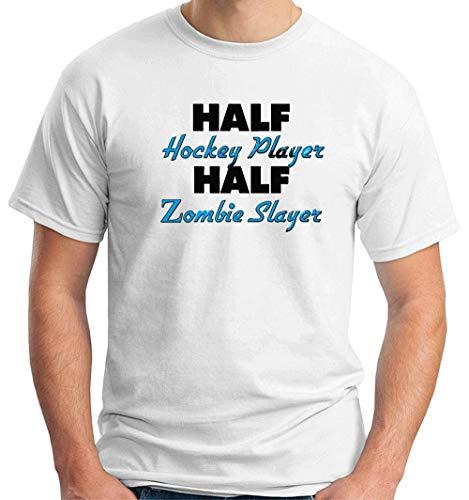 T-Shirt Mann Weiss WTC1231 Half Hockey Player Half Zombie Slayer