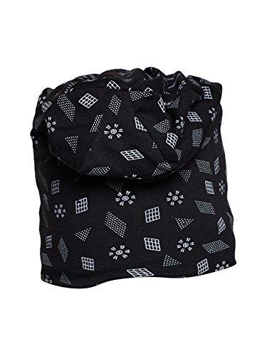 Vimal Black Printed Cotton Blended Free Size Beanie Cap For Men