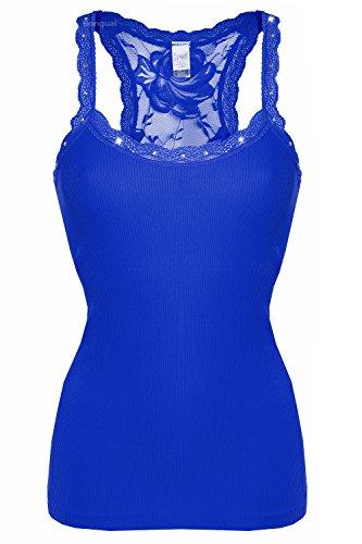 Bongual Damen Stretch Rippentop Ringerrücken Unterhemd Seamlees mit Spitze Nahtlos Microfaser Slim Fit Top 38/40 (XL/XXL) Blau (Top Stretch Spitzen-bh)