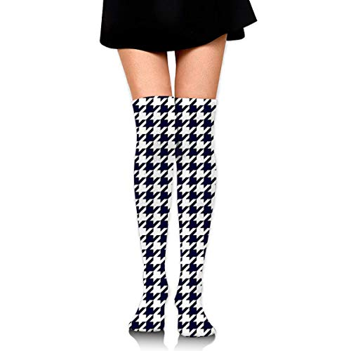 Navy Blue and White Houndstooth Personalized Long Full Length Socks for Running, Sports, Travel, Cycling, Traveling 25.6 Inchs -