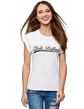 oodji Ultra Mujer Camiseta de Algodón con Mangas Raglán