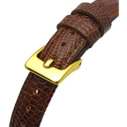 Extra Long XL Women's Leather Watch Strap Band Lizard Grain (Flat Profile) - 10mm Brown with Gilt (Gold Colour) buckle