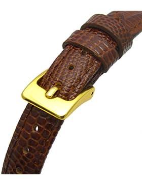 Damen-Uhrenarmband XL, aus Leder, Eidechsenmuster (flaches Profil), extra lang, 10mm breit, goldfarbene Schnalle...