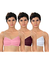 Fabme Women's Non-Wired Cotton Bra (Pack of 3) (Po3-BR0145_Pink, Maroon, White_40B)