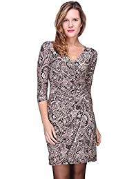 bf59dac0fe0c Revdelle - Robe Cache Coeur col en V Made in France Manches Longues pour  Femme Myriam