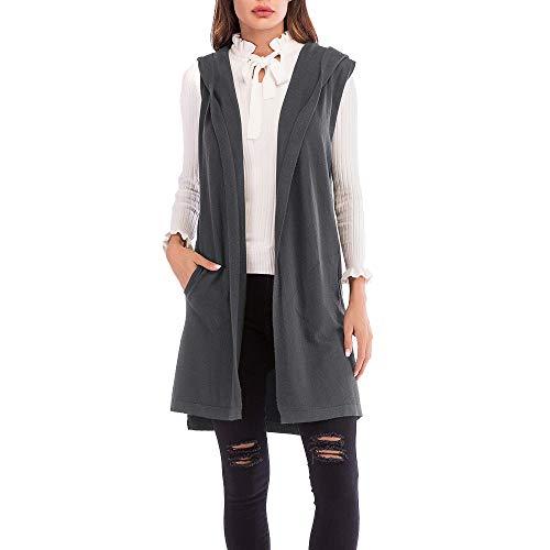 e29582ee519f7e Manteau d Hiver Femme, Honestyi Pardessus Femmes Pull sans Cardigan à  Capuchon Tricoté sans