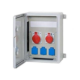 AW-TOOLS Baustromverteiler/Wandverteiler 3 x 230V/16A Schuko & 1 x CEE 16A/400V & 1 x CEE 32A/400V verdrahtet o. Sicherung