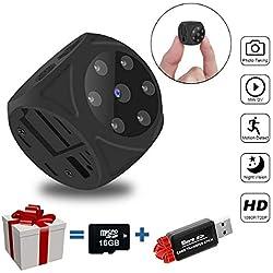 SYOSIN Mini Camera Espion (Non Wi-FI), HD 1080P Surveillance Caméra Cachée, Rechargeable Micro Caméra de Surveillance Vision Nocturne IR/Détection de Mouvement