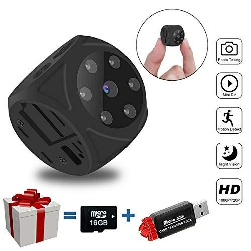 SYOSIN Mini Microcamere Spia Nascosta (No Wi-Fi), HD 1080P Telecamera Spia Portatile videocamera Nascosta con Rilevamento di Movimento, IR Visione Notturna