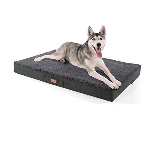 """brunolie """"Balu"""" Hundebett, waschbar, orthopädisch und Rutschfest, Hundekissen mit kuscheligem Plüsch, Größe XL, Dunkelgrau"""