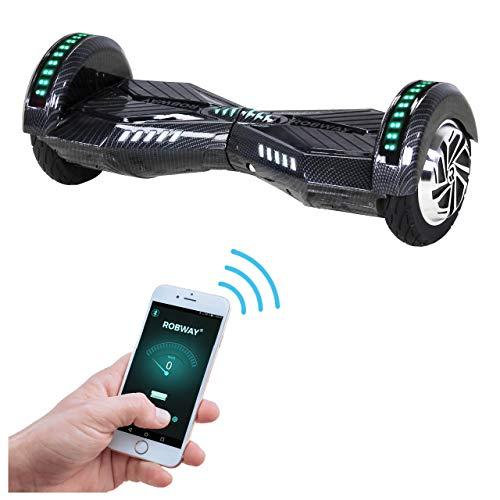 Robway W2 Hoverboard - Das Original - Samsung Marken Akku - Self Balance - Bluetooth - 2 x 350 Watt Motoren – 8 Zoll Räder (Carbon)