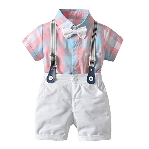 Gyratedream Little Boys Clothes Sets Bow Ties Shirts + Suspenders Trousers Toddler Boy Gentleman Outfits Suits,Kids Baby Boys Plaid Print Shirt Bow Tie Kids Summer Clothes Suit,3-24 Months Boys Bow Tie