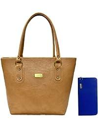 Clementine Women's Handbag And Clutch (Beige, Blue)