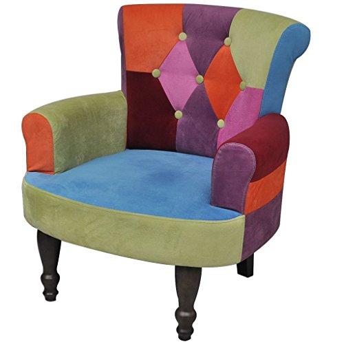 Vidaxl poltroncina francese poltrona sedia con braccioli e stoffa trapuntata